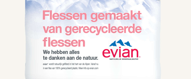 Evian produceert haar waterflessen nu van 100% gerecycled polyester