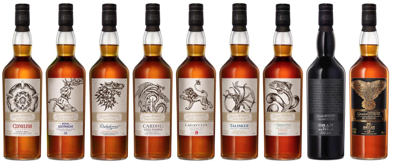 Game of Thrones whiskycollectie compleet met negende fles 'Six Kingdoms'