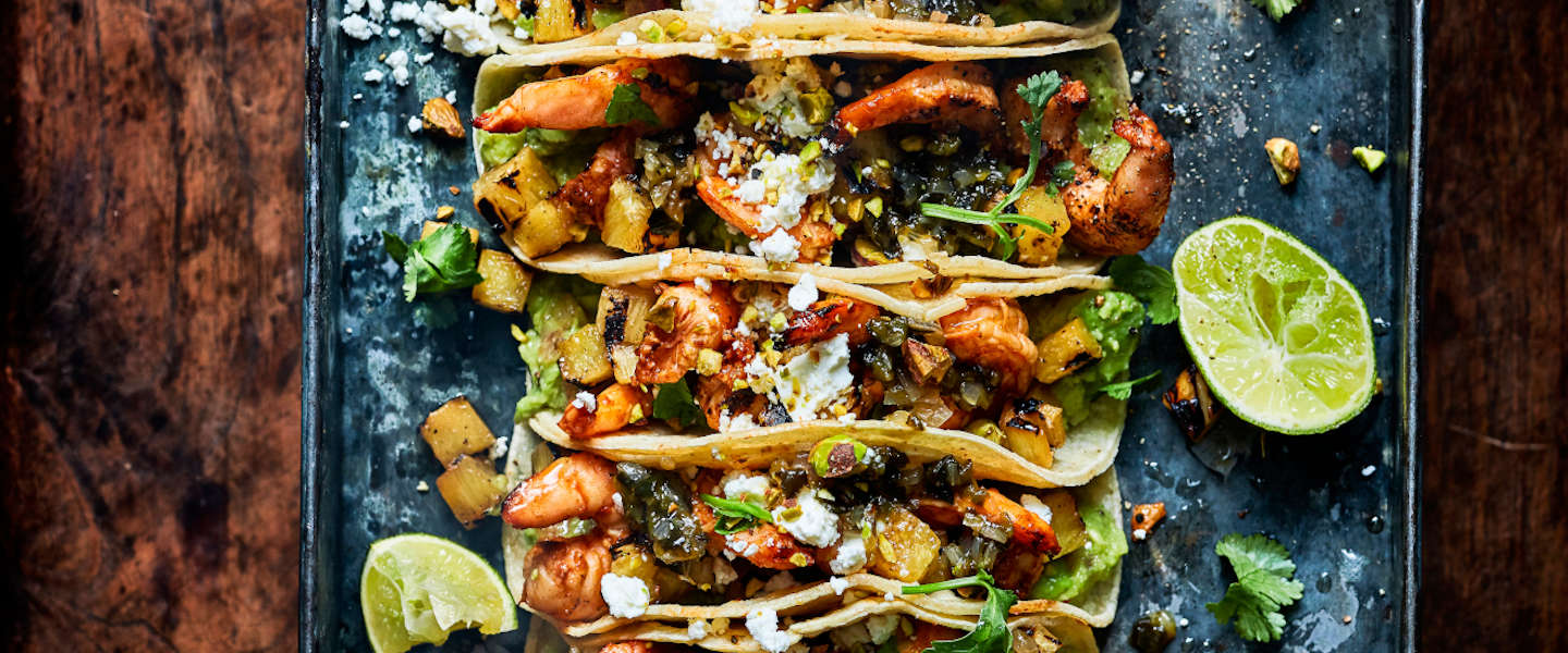 Barbecuerecept: Grilled Shrimp and Pineapple taco's