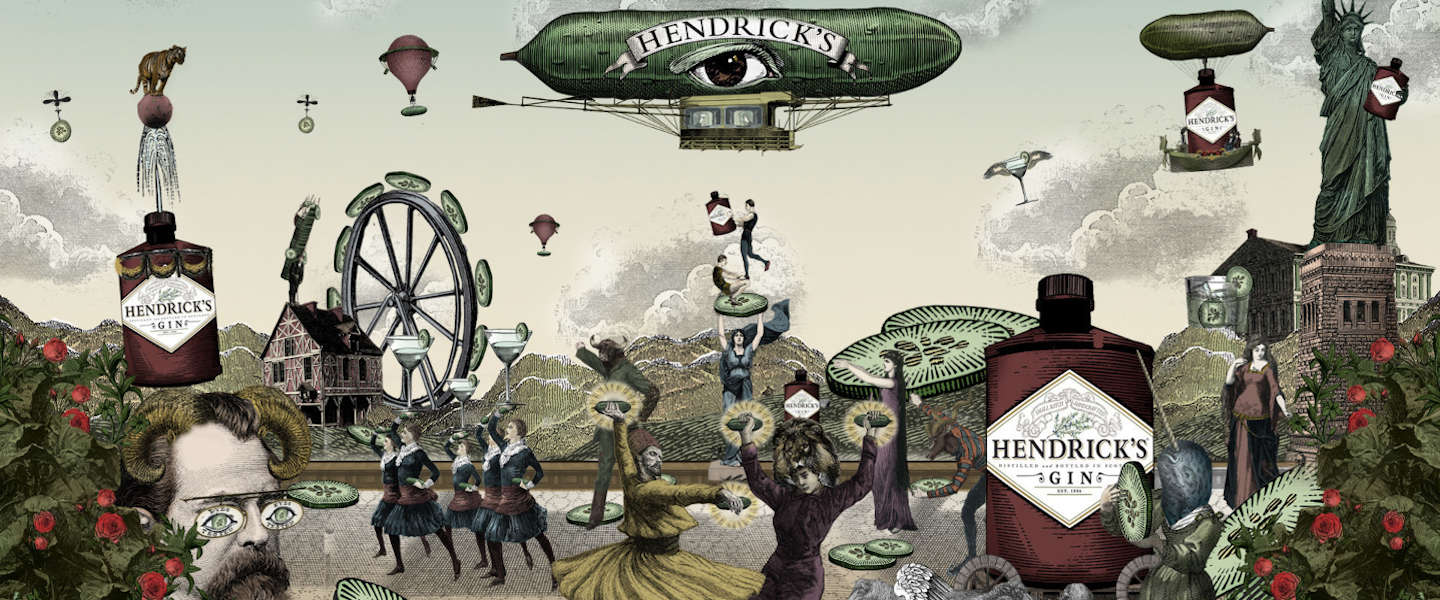 Limited edition fles Hendrick's Gin met unieke bow tie