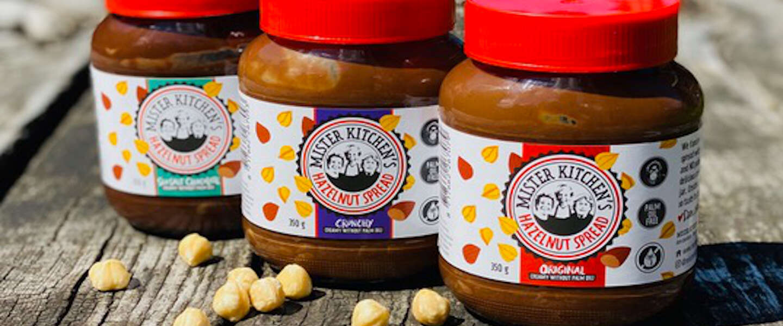 Drie palmolievrije hazelnootpasta's gelanceerd door Mister Kitchen