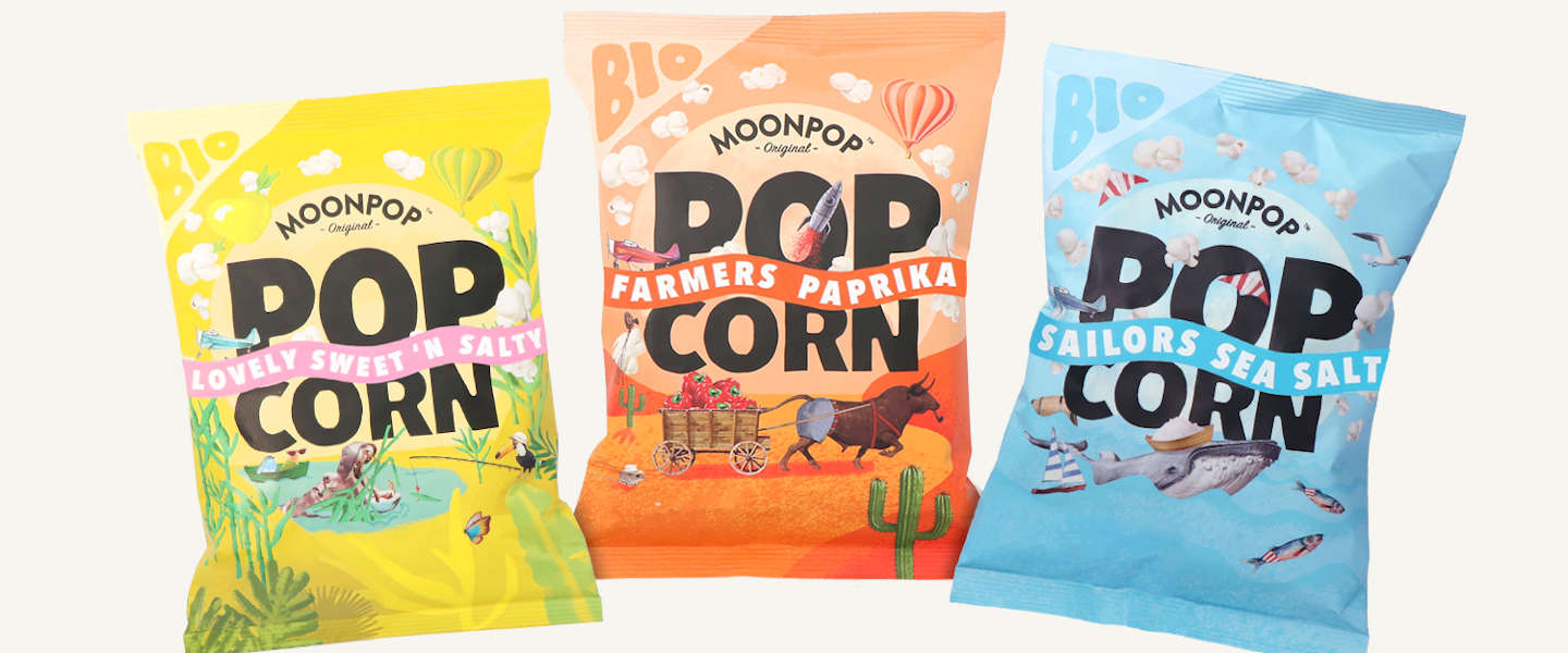 Moonpop is biologische popcorn in drie smaken