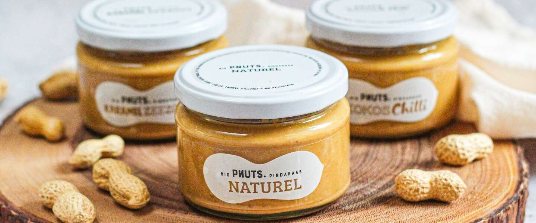 Nieuwe biologische pindakaas op de markt van het merk Pnuts