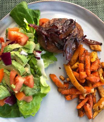 Burger met groentefriet -keto