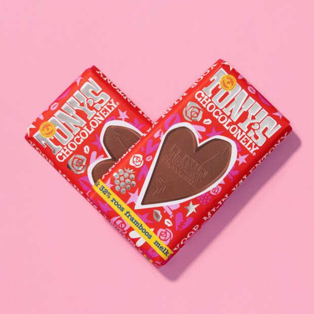 Ook dit jaar valentijnsrepen van Tony's Chocolonely in de winkel