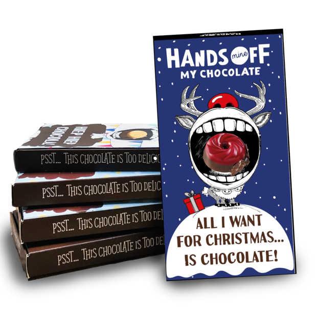 Online tool om eigen verpakking te maken voor repen Hands Off My Chocolate