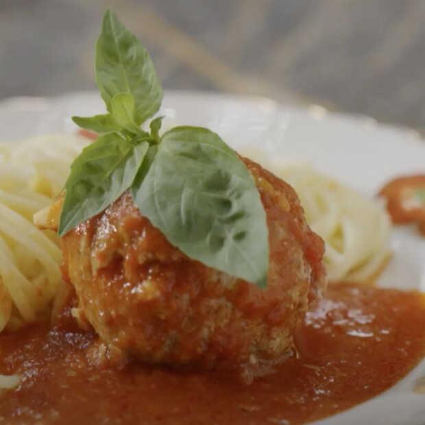 Gevulde Italiaanse gehaktballen met spaghetti van Wim Ballieu
