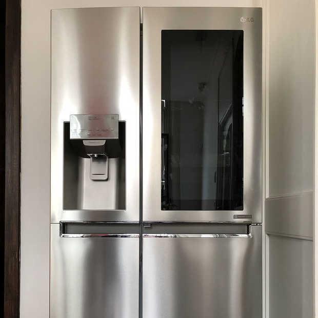 Handig zo'n Amerikaanse, dubbele koelkast