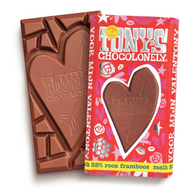 Nieuwe valentijnsreep van Tony's met uitbreekbaar hart