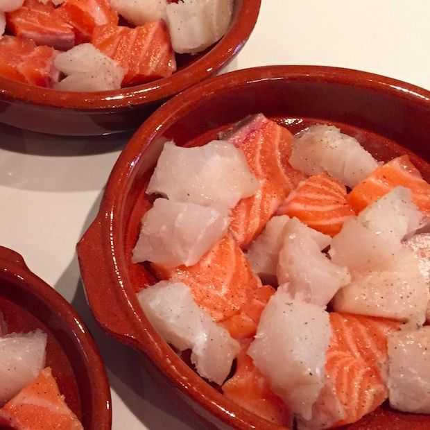 Vispannetje met zalm en kabeljauw